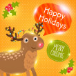 Stock Vector: Merry Christmas greeting card with deer. Holiday vector illustration