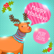 Merry Christmas greeting card with deer. Holiday vector illustration — Stock Vector #34869851
