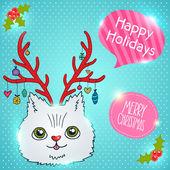 Cute cartoon Christmas cat with horns — Vector de stock