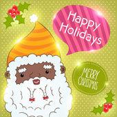 African american Santa Claus card — Stock Vector