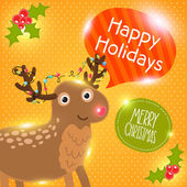 Merry Christmas greeting card with deer. Holiday vector illustration — Stock Vector