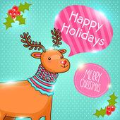 Feliz natal cartão com veados. ilustração vetorial de férias — Vetorial Stock