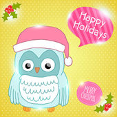 Christmas owl in Santa hat card — Stock Vector