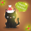Christmas black cat in santa hat with bubble speech — Stock Vector #34985679