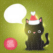 Christmas black cat in santa hat  with bubble speech — Stock Vector