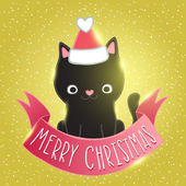Christmas black cat in santa hat with a pink ribbon — Stock Vector