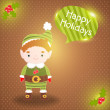 Stock Vector: Christmas elf card with bubble speech