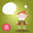 Stock Vector: Christmas elf with bubble speech background