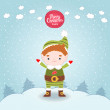 Christmas elf card — Stockvektor