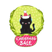 Christmas black cat with Santa Claus hat - sale sign — Stock Vector