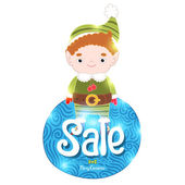 Christmas elf and sale label — Stock Vector