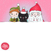 Christmas background with Santa Claus, elf and black cat — Stock Vector