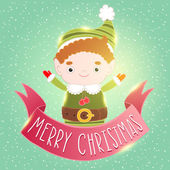 Christmas elf card with ribbon — Stock Vector
