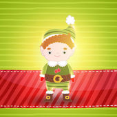 Christmas background with elf — Stock Vector