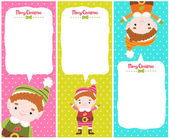 Christmas elf banner set with bubble speech — Stock Vector