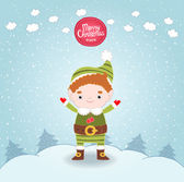 Christmas elf card — Stock Vector