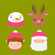 Santa Claus, deer, snowman, elf - Christmas illustration — Stock Vector