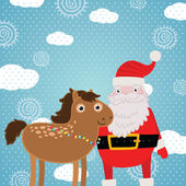 Christmas horse and Santa Claus. Holiday illustration — Stock Vector