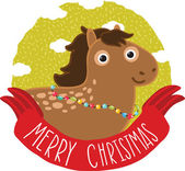 Merry Christmas greeting card background with horse. Holiday vector illustration — Stock Vector