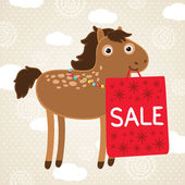 Christmas horse with sale bag. Holiday illustration — Stock Vector