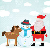 Christmas horse, Santa Claus and snowman. Holiday illustration — Stock Vector
