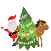 Christmas illustration with Santa Claus, horse and tree — Stock Vector