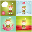 Stock Vector: Christmas elf with bubble speech