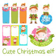 Stock Vector: Cute christmas elf set