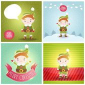 Christmas elf with bubble speech — Stock Vector
