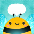 Stock Photo: Bee illustration with speech bubble