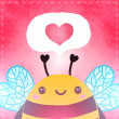 Stock Photo: Illustration of cute bee and heart