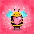 Stock Vector: Illustration of cute bee and heart