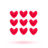 Funny hearts smiley faces set — Vector de stock