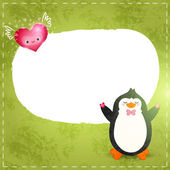 Cartoon penguin with hearts in hands — Vettoriale Stock