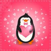 Ilustrace roztomilý tučňák a srdce — Stock vektor