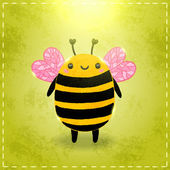 Cartoon bee on green background — Stock Vector