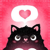 Cartoon cat with heart — Stock Vector