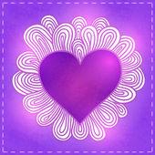 Doodle coração para dia dos namorados. — Vetor de Stock