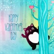 Stock Vector: Happy Valentines Day card with cat