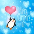 Happy Valentines Day card with penguin — Stockvector