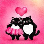 Felice giorno di san valentino carta con gatto — Vettoriale Stock