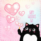 Happy Valentines Day card with cat — Stock Vector