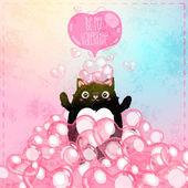与猫的快乐情人节卡片。 — 图库矢量图片