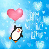 Happy Valentines Day card with penguin — Stock Vector