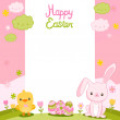 Easter card with bunny, chick and eggs — Stock Vector #41488661