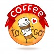 Cute cartoon coffee badge. — Stock Vector