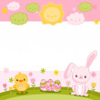 Easter card with bunny, chick and eggs — Stock Vector #41488783