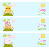 Easter banners with basket, easter eggs, bunny, chick — Stock Vector
