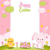 Easter card with bunny, chick and eggs — Stock Vector