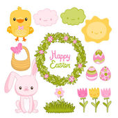 Easter set with bunny, chick, clouds, sun, flowers, basket, wreath and eggs — Stock Vector